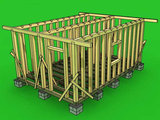 Этапы строительства каркасных